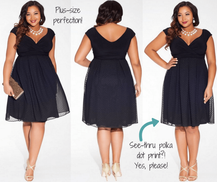 IGIGI || Adelle Plus Size Dress in Noir Dot