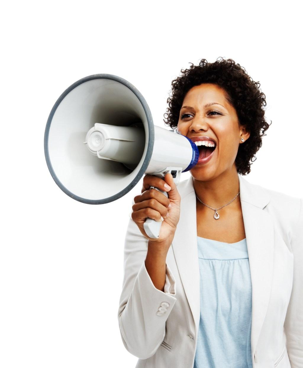 Businesswoman holding a megaphone