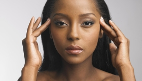 African-American woman in beauty poses