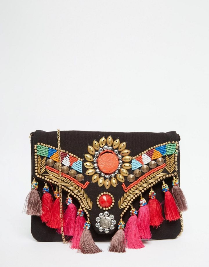 ASOS Glamorous Foldover Clutch Bag With Tassels & Beading