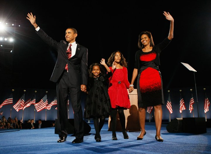 Barack Obama holds election night gathering in Chicago's Grant Park, Nov. 4, 2008.