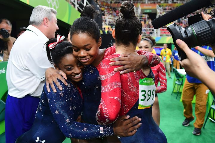 Simone, Gabby and Aly Hug Each Other