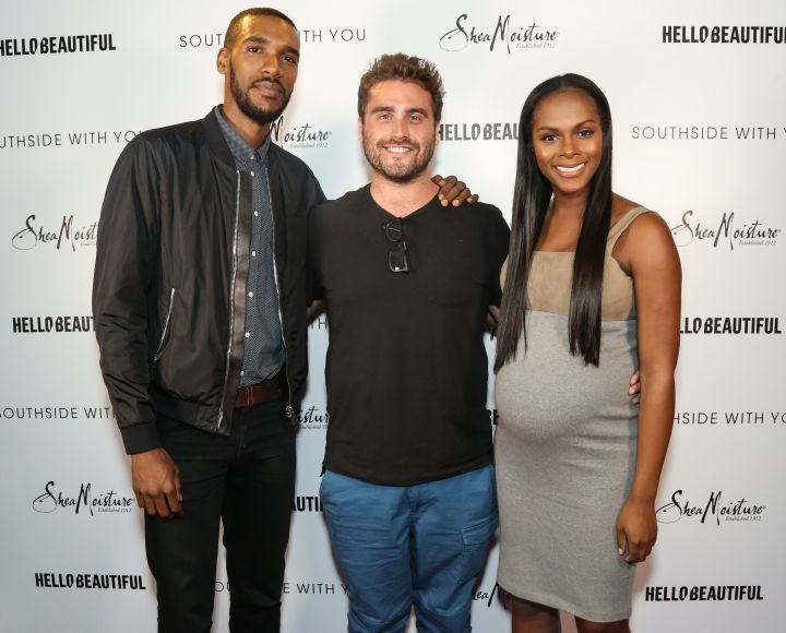 Parker Sawyers, Tika Sumpter, and Director Richard Tanne pose on the pink carpet at HelloBeautiful's screening