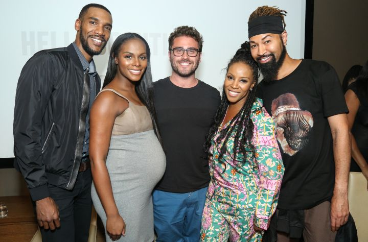 Parker Sawyers, Tika Sumpter, Director Richard Tanne, June Ambrose, and Ty Hunter pose on the pink carpet at HelloBeautiful's screening