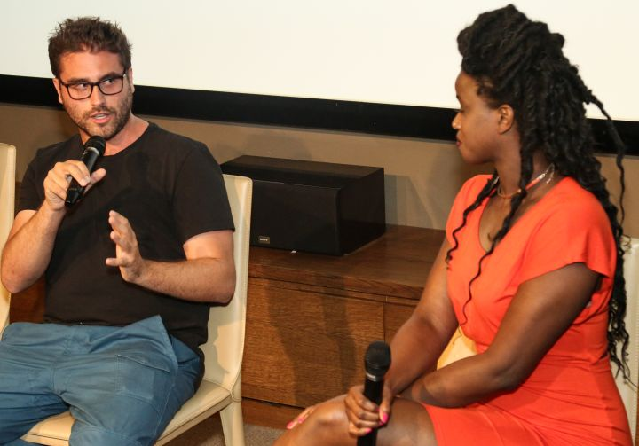 Keyaira Kelly speaks to Director Richard Tanne during Q&A for 'Southside with You'