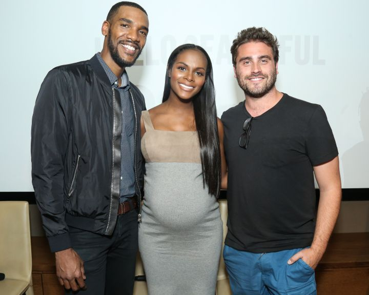 Parker Sawyers, Tika Sumpter, & Director Richard Tanne on HelloBeautiful's pink carpet for the screening of 'Southside with You'