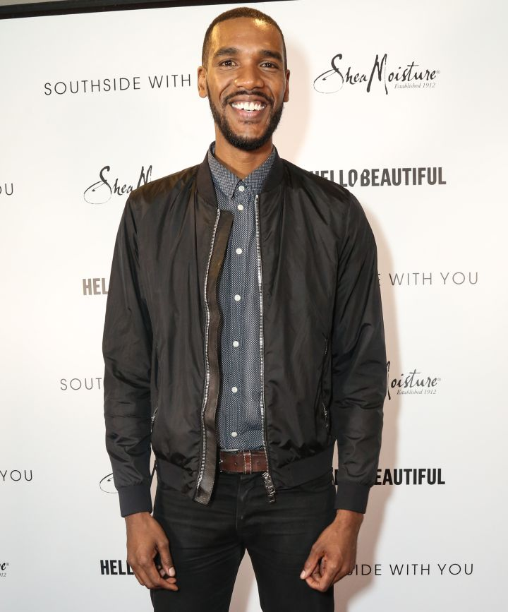 Parker Sawyers On HelloBeautiful's pink carpet for the screening of 'Southside with You'