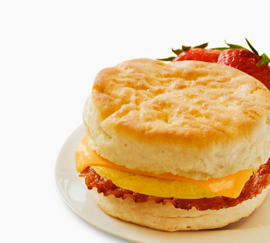 Bacon, Egg and Cheese Breakfast Sandwich on a Biscuit