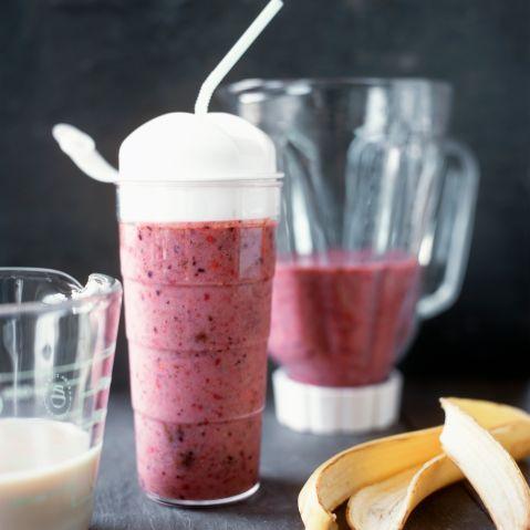 Berry milkshake, close-up