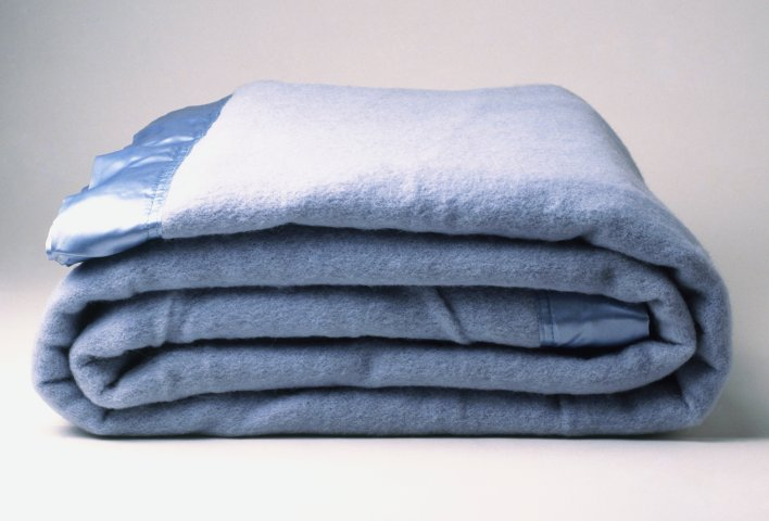 A blue blanket, folded