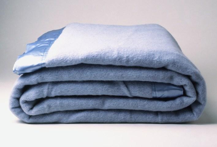 A blue blanket, folded
