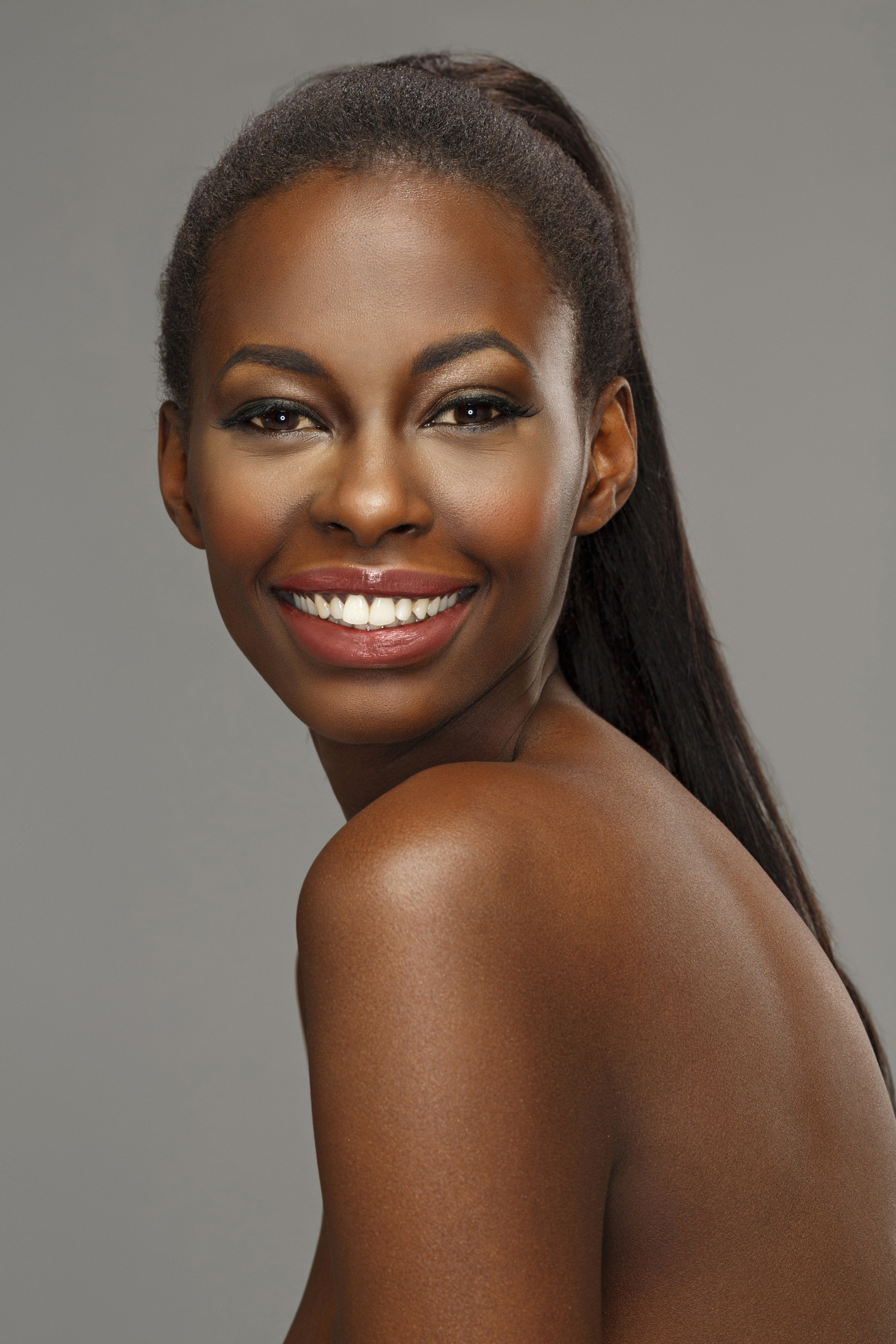 Beauty portrait of beautiful toothy smile young african ethnicity woman