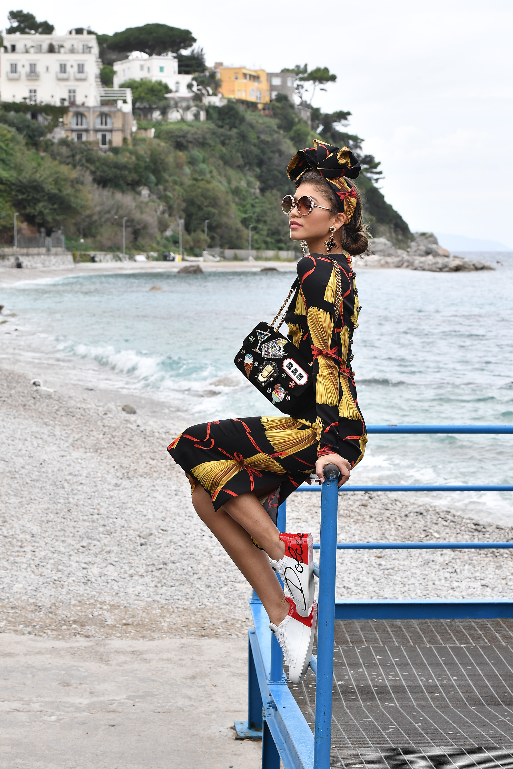 Celebrities In Capri For The Dolce&Gabbana Summer 2017 #DGMillennials Advertising Campaign Shooting