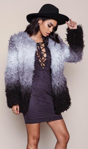 Starlet Ombre Furry Shag Coat