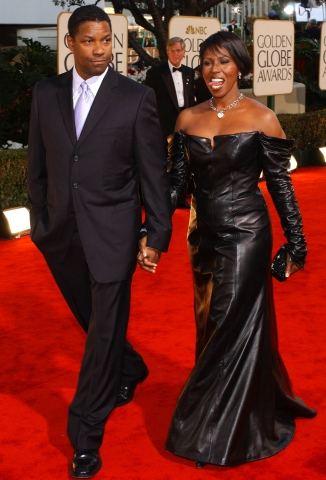 US actor Denzel Washington (L) and his wife Paulet