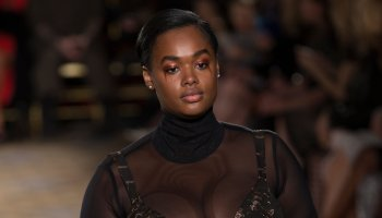 Model walks runway for Christina Siriano collection during...