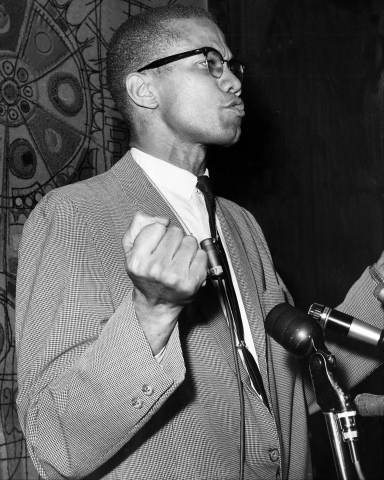 Malcolm X at Park Sheraton Hotel for press conference.