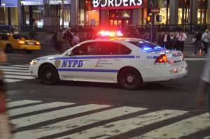 police car on a emergency call