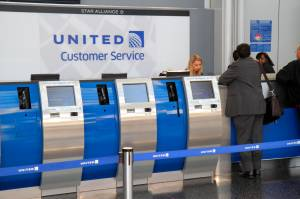 Chicago O'Hare International Airport terminal, United Airlines customer service counter