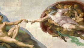 The Creation of Adam painting by Michelangelo on ceiling of the Sistine Chapel.