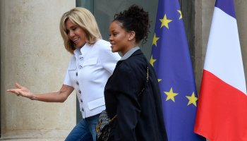 France's First Lady Brigitte Macron Receives Popstar Rihanna At The Elysee Palace