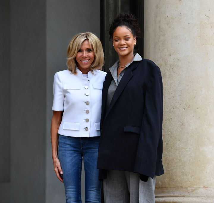 First Lady of France Brigitte Macron and Rihanna