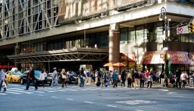 Pedestrians in front of Port Authority NYC