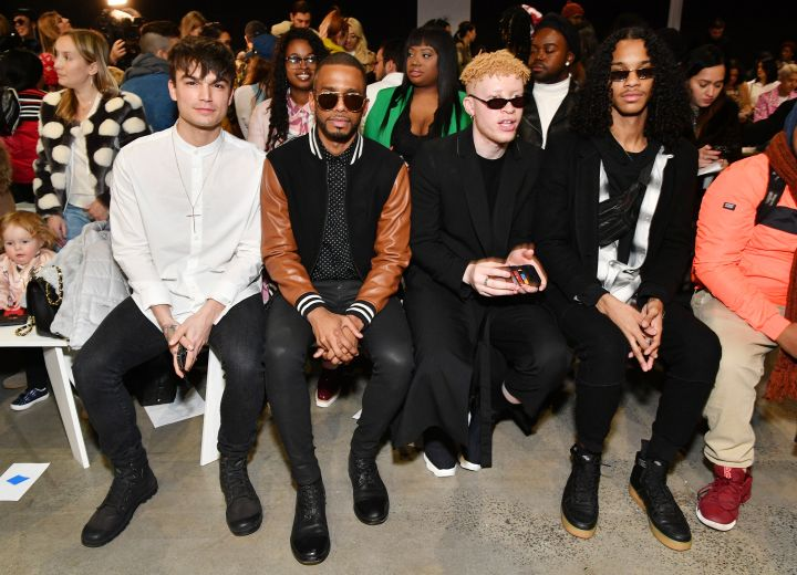 FEBRUARY 09: Actor Samuel Mancini, actor Eric West, model Shaun Ross, and model Jordun Love attends the Concept Korea front row during New York Fashion Week