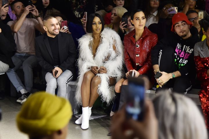 (L-R) Jeremy Atie, Remy Ma, and Jordan Duffy attend the Christian Cowan fashion show during New York Fashion Week: