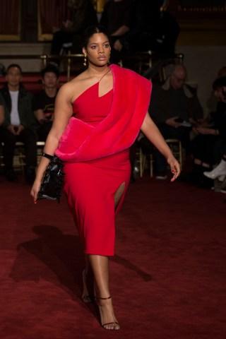 Model walks the runway at the Christian Siriano fashion show...