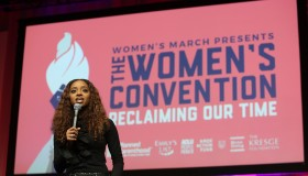 Tamika Mallory, National co-chair of Women's March speaks at...