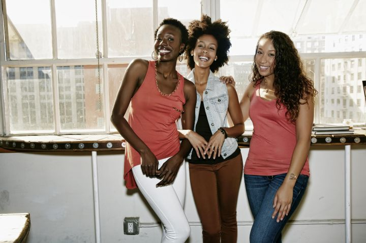 Women smiling together