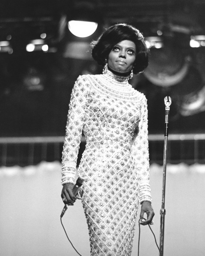 Blues singer Diana Ross, of the Supremes, as she performs on an unspecified television show, late 1960s