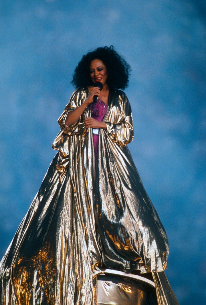 Diana Ross preforms during haft time of Super Bowl XXX