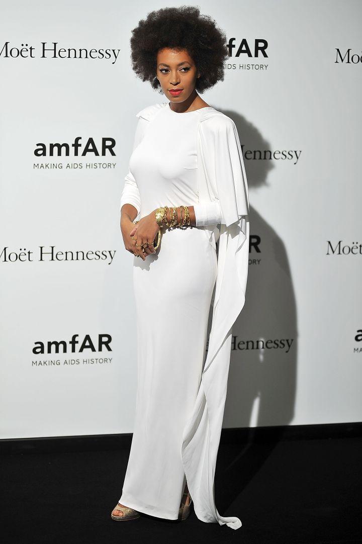 Solange Knowles attends amfAR Milano 2012 during Milan Fashion Week at La Permanente