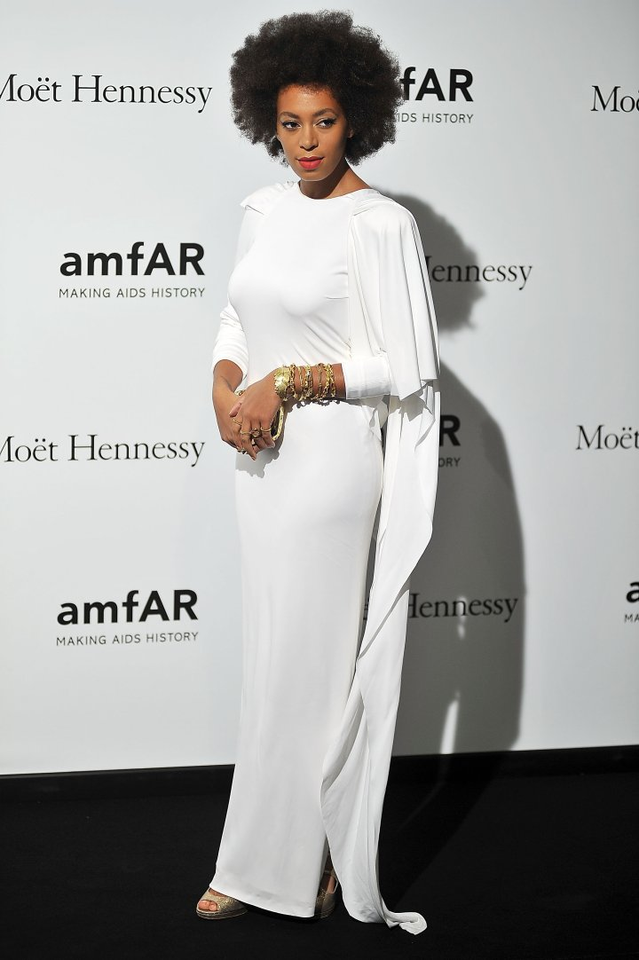 Solange Knowles attends amfAR Milano 2012 during Milan Fashion Week at La Permanente