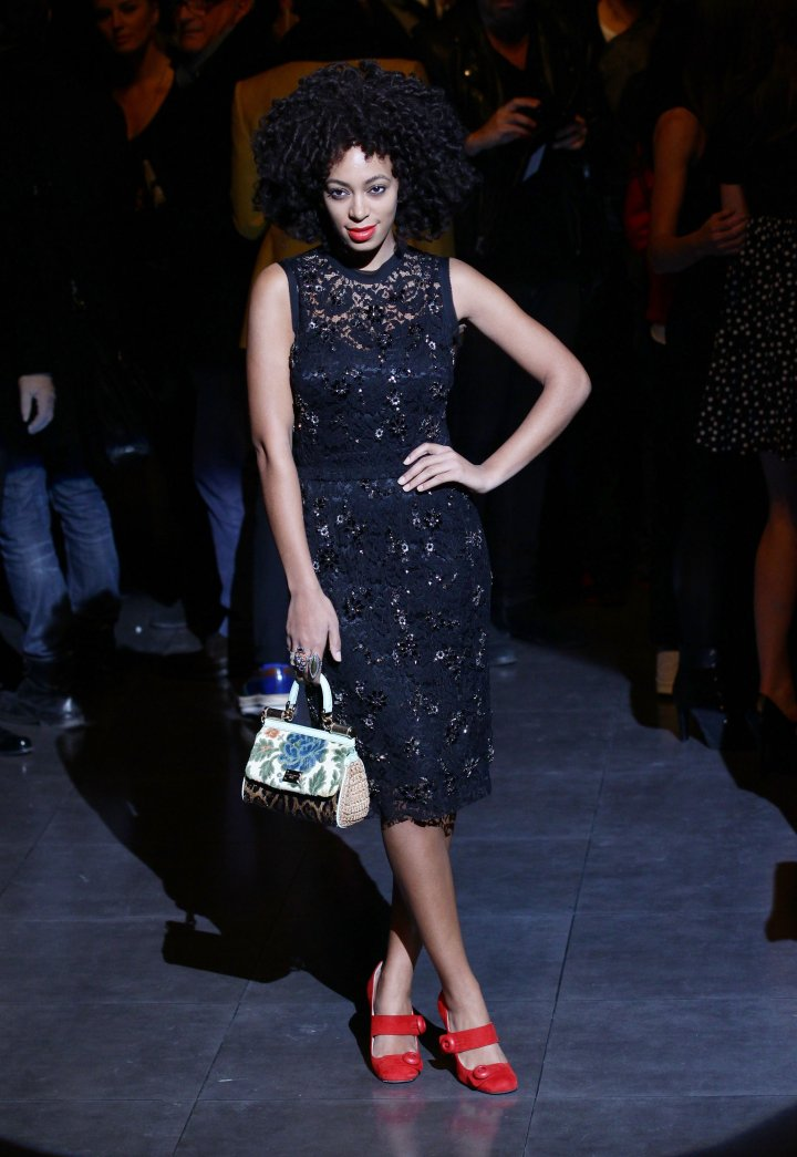 Solange Knowles poses on the runway prior the Dolce & Gabbana fashion show