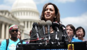 Sen. Kamala Harris Holds News Conference To Support Immigration And Refugee Policies That Protect Rights Of Women And Children