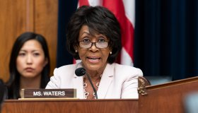 U.S. Representative Maxine Waters (D-CA) at a hearing of the...