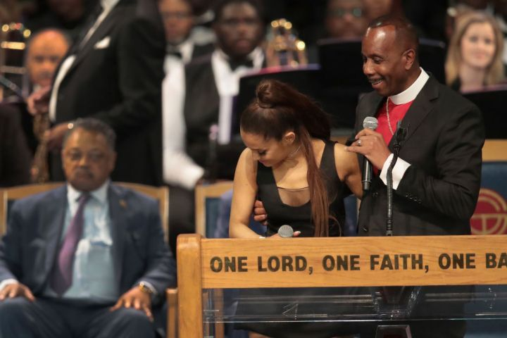 Ariana Grande Groped At Aretha Franklin's Funeral?