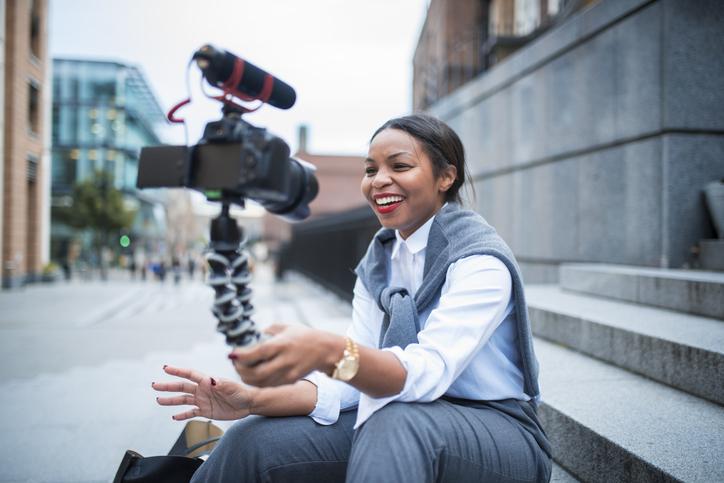 Businesswoman vlogging in London