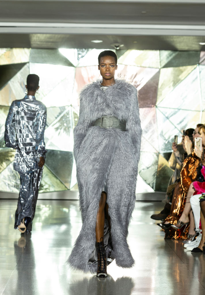 Model walks runway for Christian Siriano New York fashion...