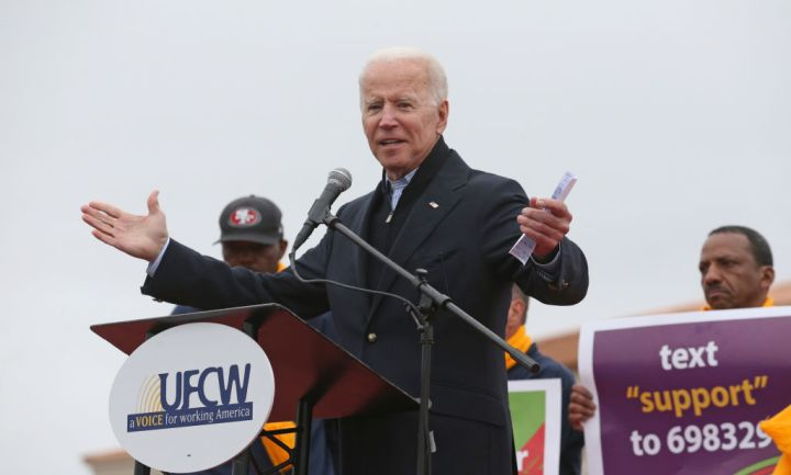 Former Vice President Joe Biden speaks to striking Stop & Shop workers