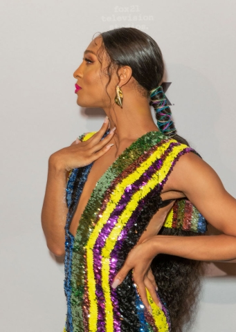 Mj Rodriguez wearing dress by Cong Tri attends FX POSE...