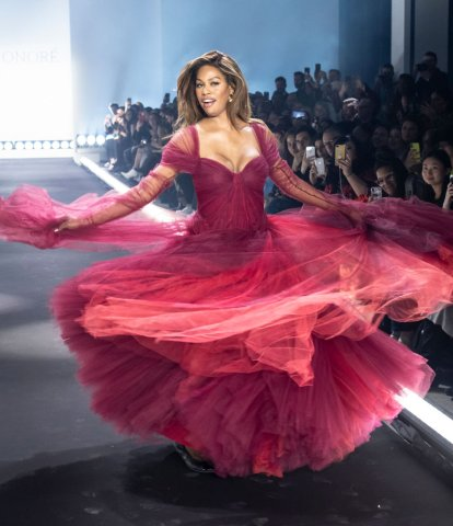 Laverne Cox wearing dress by Zac Posen walks runway for 11...