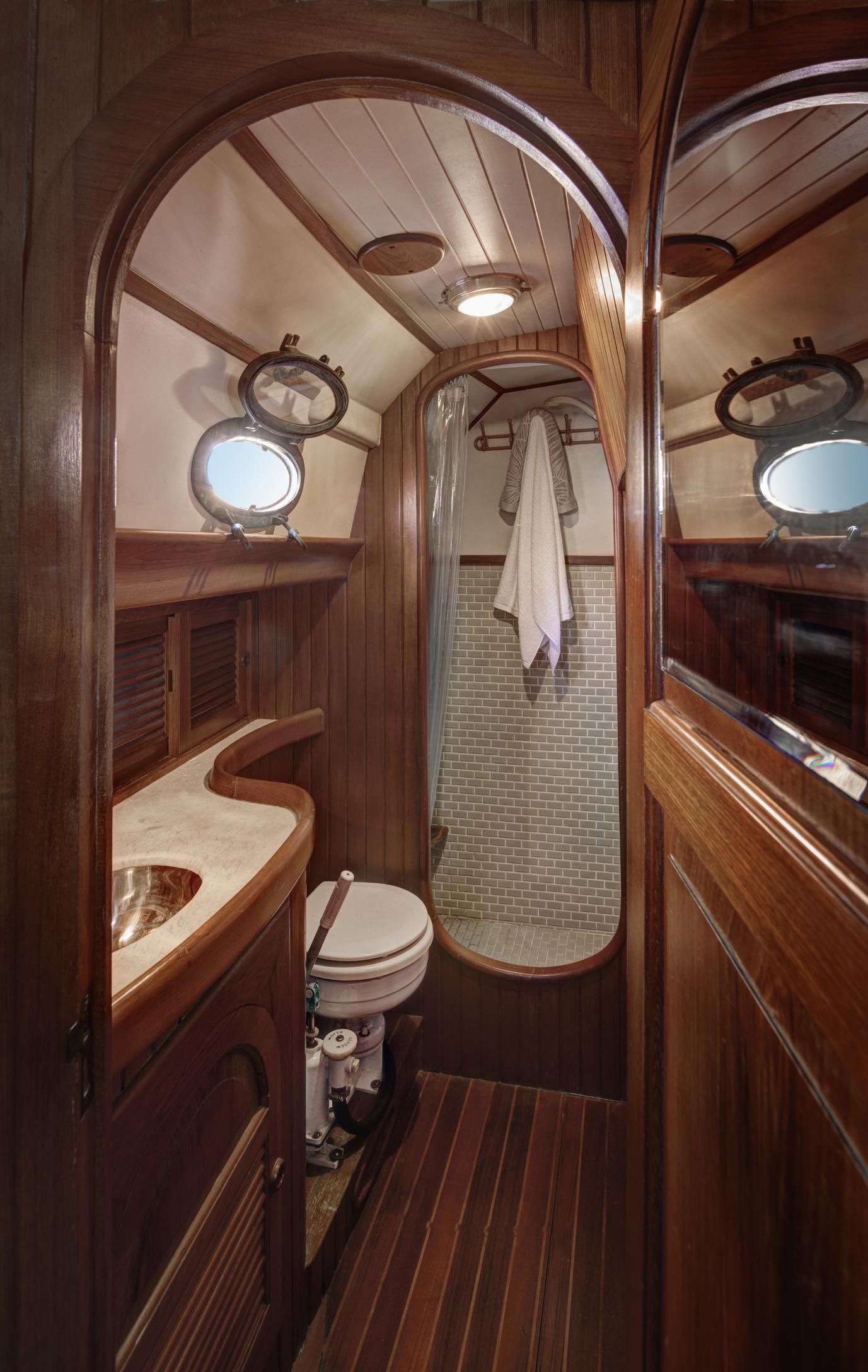 Bathroom in boat cabin