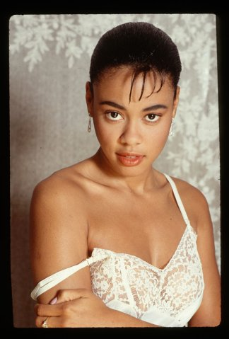 Actress Lela Rochon in a Negligee