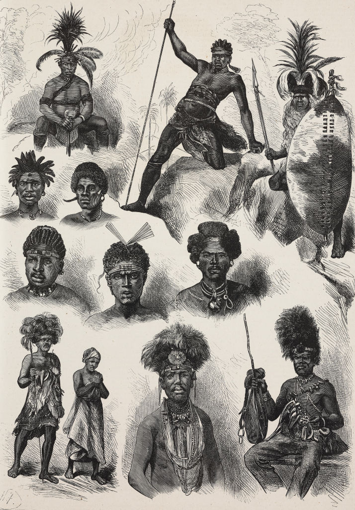 Zulu and Cafri warriors