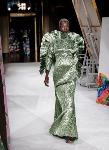 A model walks runway for Christian Siriano Spring/Summer...