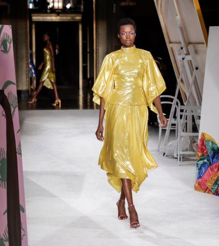 A model walks runway for Christian Siriano Spring/Summer...